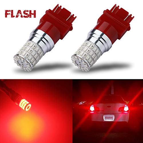 iBrightstar Newest 9-30V Flashing Strobe Blinking Brake Lights 3157 3057 3156 3056 LED Bulbs replacement for Tail Brake Stop Lights, Brilliant Red