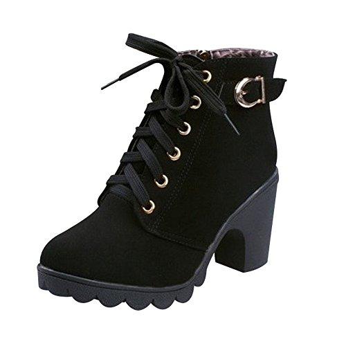 Favoridol Femme Bottines Mode à Talons Hauts Low Boots en Lacets Fermeture Eclair