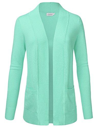 JJ Perfection Women's Open Front Knit Long Sleeve Pockets Sweater Cardigan Mint - Mint Blouse