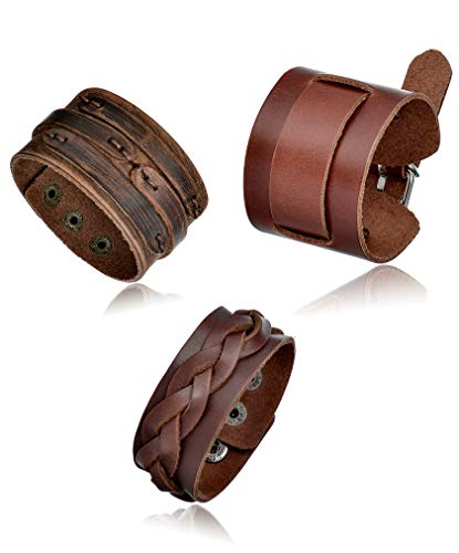 Tornito 3Pcs Genuine Leather Bracelet Braided Biker Cuff Strap Punk Wide Belt Bangle Wristband for Women Men Black Brown Size Adjustable