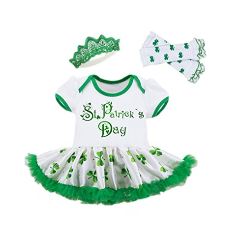 Baby Girl St Patricks Day Dress Leg Warmers Crown Headband (Green, 12-24Months) -