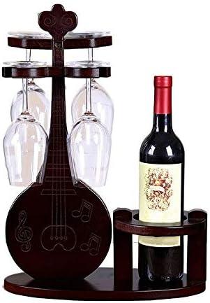ワイングラスホルダー クリエイティブデコレーション家庭シンプルなソリッドウッドワイングラス逆さ吊りガラスホルダー ワイングラスホルダーガラスハンガーステンレススチールサスペンション (Color : Brown, Size : 46x33x16cm)