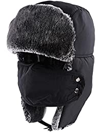 Winter Hat With Ear Flaps - Winter Trooper Trapper Hat, Ushanka Hunting Hat With Detachable Face Mask, Waterproof and Windproof Russian Style Snow Hat - Unisex For Men & Women