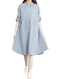 Women's Casual Long Sleeve Striped Tunic Tops Cotton Linen Shirt Dress