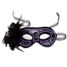 Cozypony Women's Light Up Venetian Masquerade Mask,Feathered Lace Costume Mask for Halloween,Dance Performance,Party,Mardi Gras or Prom Masks (Pink)