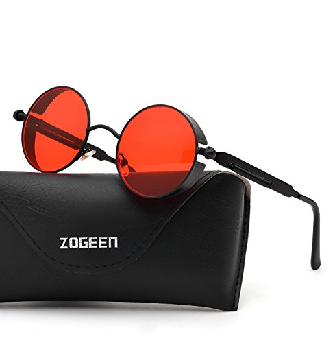 ZOGEEN Polarized Steampunk Round Sunglasses for Men Women Mirrored Lens Metal Frame S2671 - Men Best Oval For Glasses Face