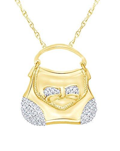 Wishrocks Diamond Handbag Pendant in 14K Yellow Gold Over Sterling Silver (1/3 CT)