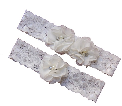 Series Lace (Ivory Wedding Garter Set ,Classic Series, Lace Vintage White Prom Bridal)
