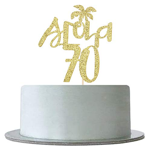 Gold Glitter Aloha 70 Cake Topper for 70th Birthday,Wedding,Anniversary,70&Fabulous,Hawaiian Theme Tropical Party Decorations Supplies]()