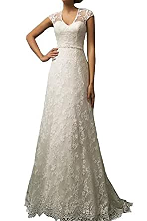 Vintage lace country wedding dresses cap sleeve sheer boho for Amazon cheap wedding dresses