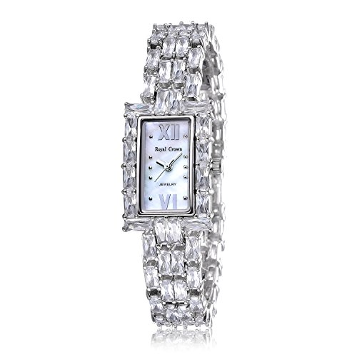 RC ROYAL CROWN Women's Crystal-Accented Luxury Silvery-Tone Bangle Watch Jewelry Bracelet Wrist Watches from RC ROYAL CROWN