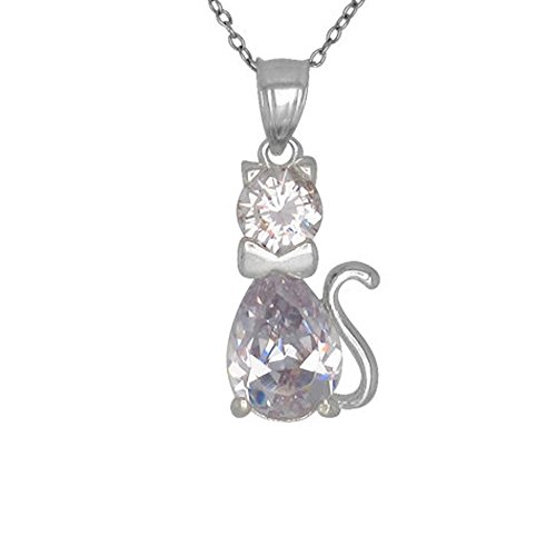 XP Jewelry Birthstone Necklace with Cat Charm Pendant in Solid Sterling Silver - 18 Inch Chain - April