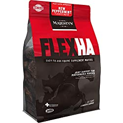 Majesty's FlexHA Peppermint Wafers - Performance Horse/Equine Hip & Joint Support Supplement - Hyaluronic Acid (HA), MSM, Glucosamine, Chondroitin - Anti-Inflammatory - 2 Month Supply (1 Bag/60 Count)