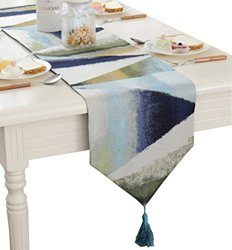 ZebraSmile Ombre Gemetric Table Runners with Tassels Polyester Jacquard Elegant Striped Fall Table Runners for Home Kitchen Dining Table Decoration, Blue 13 X 86 Inch ()