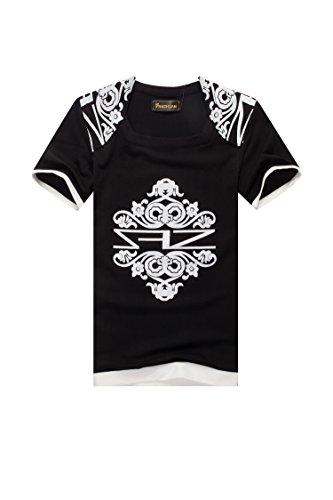 FANZHUAN Herren T Shirt Mann Schwarz Vintage Slim Fit Mit Aufdruck