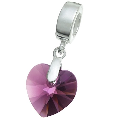 Dreambell 925 Sterling Silver Birthday February Purple Heart European Dangle Charm using Swarovski Elements -