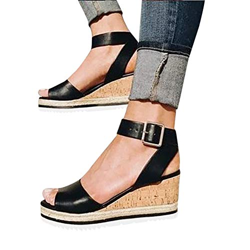 (Gibobby Sandals for Women with Arch Support Women's Platform Sandals Espadrille Wedge Ankle Strap Studded Open Toe Sandals Black)