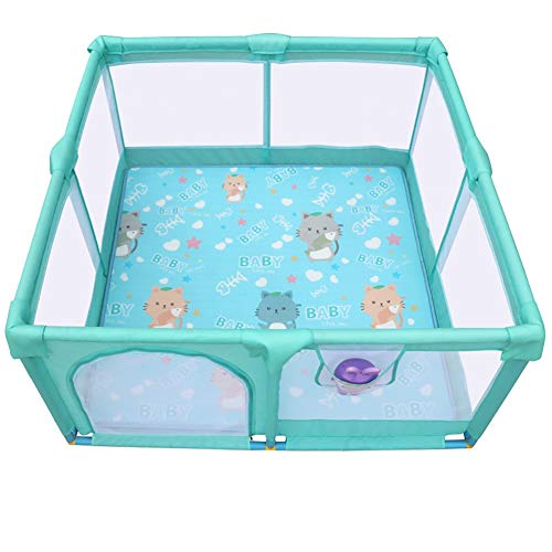Baby Safety Fence Kids Game Playpen Play Pen Foldable Room Divider 4 Panels & Floor Mats Anti-Collision