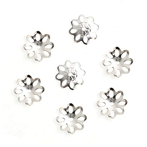 100pcs 925 Sterling Silver 8mm Flowery Round Bead Caps for Jewelry Craft Making Findings SS120
