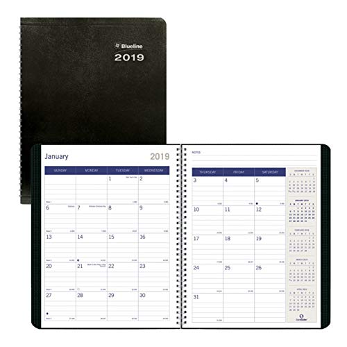 Blueline 2019 DuraGlobe Monthly Planner, 14-month planner, December 2018  to January 2020, Soft Black Cover, Sugarcane, 11 x 8.5 inches (C235.21T-19) (Binding 11x14 Covers)