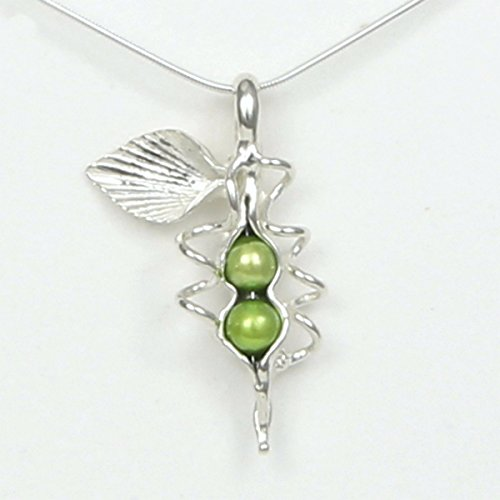 Pearl Pea Pendant Sweet (2 Pearl How Many Peas in Your Pod Sterling Silver Necklace Each Unique Handmade - Gift Boxed - 2 Green or White Peas)