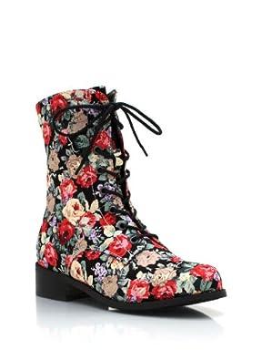 Amazon.com | Floral Combat Boots | Ankle & Bootie