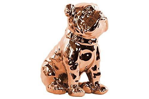 Urban Trends Ceramic Sitting British Bulldog Figurine with Polished Chrome Rose Finish, Gold