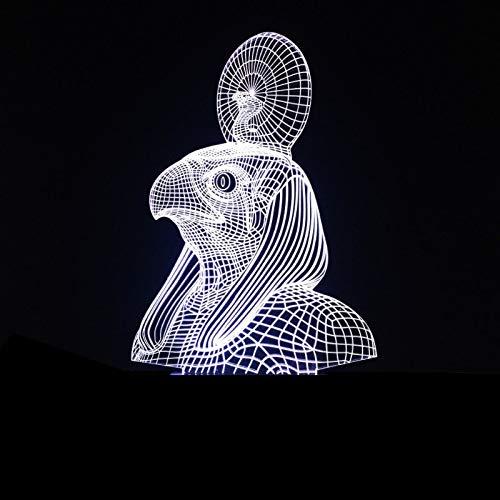 Tisch- & Nachttischlampen 3D LED Licht Nachtlicht Optisch Lampe Ägyptischer Pharao 7 Farb mit Acryl-Ebene & ABS Basis USB-Ladegerät Farben Berührungssteuerung Zuhause Dekor Tischleuchte Baby Schlafzimmer Schlaf Lichter Möbel & Wohnaccessoires
