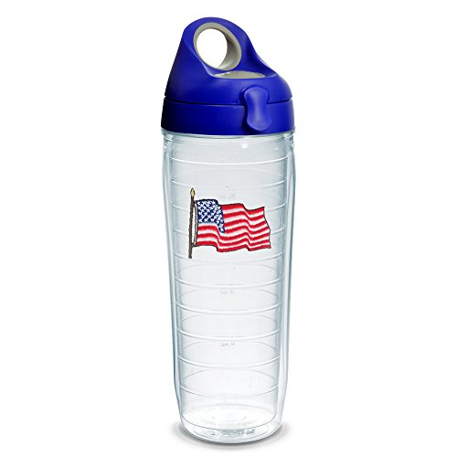 - Tervis 1230635 American Flag Tumbler with Emblem and Blue with Gray Lid 24oz Water Bottle, Clear