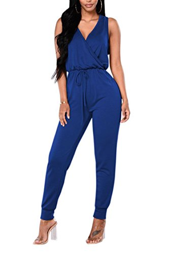 Fixmatti Women 1PC Solid Cotton Sleeveless Waisted Basic Slim Romper Pant Blue S -