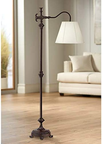 Hancock Traditional Downbridge Floor Lamp Bronze Natural Linen Empire Shade