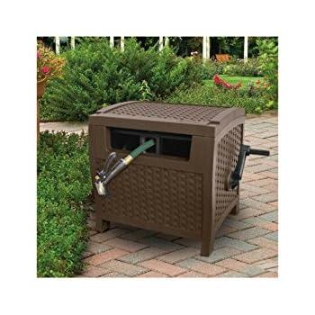 175u0027 Resin Wicker Garden Hose Cart,Box Hideaway Reel, Hose Storage With Reel