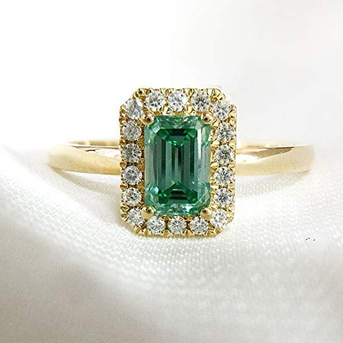 (Green Moissanite Engagement Ring 3.0 Carats VVS1 Emerald Cut Halo 14K 18K White Gold Rose Gold Yellow Gold Platinum)