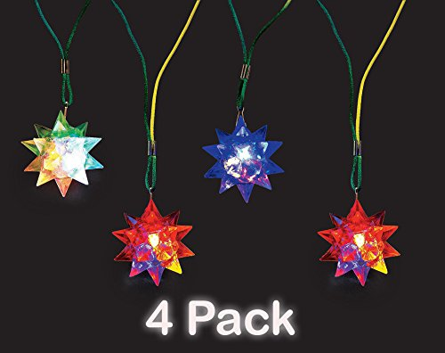 Flashing Star Ball Necklace With Nylon Cord, - Pack Of 4 - Star Ball Is 2