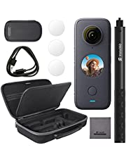 Insta360 ONE X2 360 Degree Waterproof Action Camera Bundle with Invisible Selfie Stick, Carrying Case, and Tempered Glass Screen Protectors