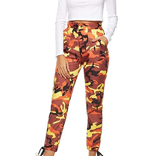 - ▶HebeTop◄ Women Camouflage Sweatpants High Waist Wide Leg Culottes Cotton Trousers Loose Pants