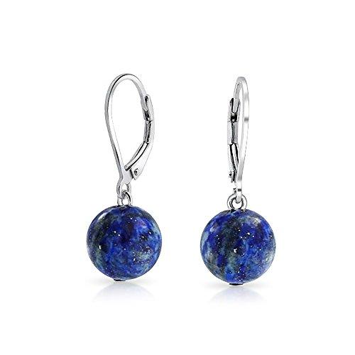 Sterling Silver Leverback Dyed Lapis Dangle Gemstone Drop Earrings