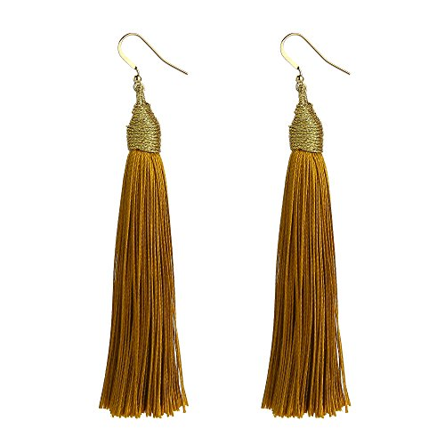 MELUOGE Gold Thread Women Tassel Dangle Earrings Silk Fringe Thread Drop Earrings (Golden)