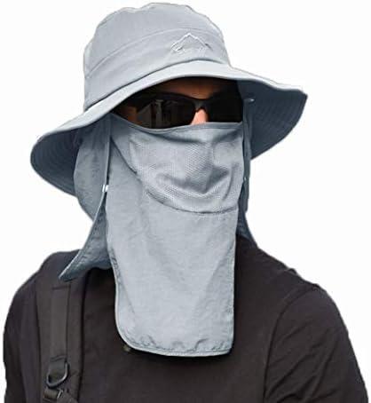 サンバイザー メンズ つば広 ハット 帽子 漁師帽 キャップ フェイスガード フェイスマスク 感染防護 花粉症対策 飛沫を防ぐ 顔面隔離 戸外運動に対応ネックウォーマー 釣り 登山 首までガード