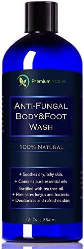Antifungal Soap Body & Foot Wash - 12 oz with Tea Tree Oil 100% Natural Fungal Defense Care Kills Bacteria Athletes Foot Ringworm Jock Itch - Antibacterial Soap Premium Nature