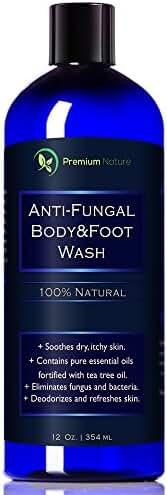 Antifungal Soap Body & Foot Wash - 12 oz with Tea Tree Oil 100% Natural Fungal Defense Care Kills Bacteria Athletes Foot Ringworm Jock Itch - Antibacterial Soap Premium Nature