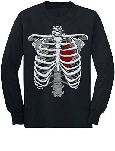 Halloween Skeleton Rib Cage Heart Xray Costume Youth Kids Long Sleeve T-Shirt X-Large Black (Xray Skeleton Kids Costume)