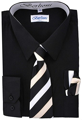Berlioni Boys Italian Long Sleeve Dress Shirt with Tie & Hanky-BLACK-14 by Berlioni