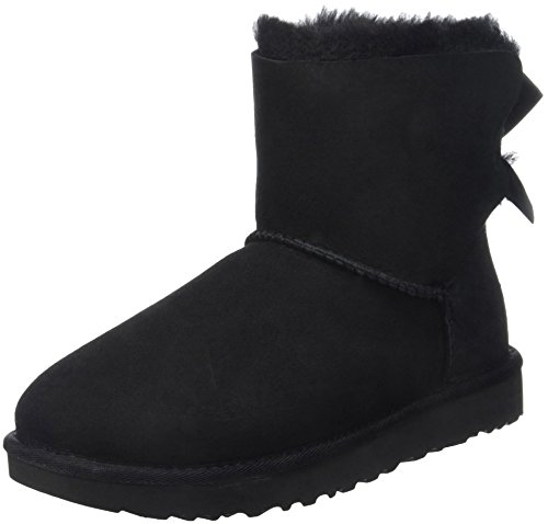 Bow Ankle Boot (UGG Women's Mini Bailey Bow II Winter Boot, Black, 8 US/8 B US)