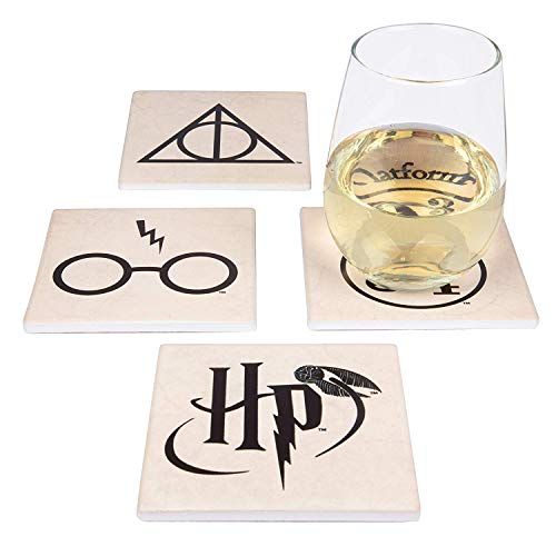 Harry Potter Coasters, 4 Piece Ceramic Coaster Set – Protect Tables from Drink Cups / Glasses – A Magical Novelty Gift for Potterheads, Ideal Housewarming, Birthday and Holiday Gift – 4 Unique Designs - Glass Four Piece Coaster