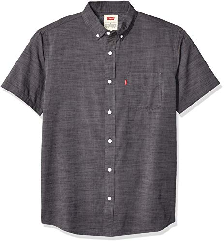 Levi's Men's Short Sleeve, Classic FIT, Woven Shirt, Caviar/Brato Solid, Large