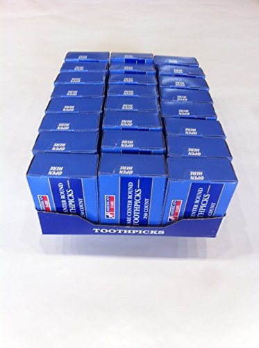 American Fare Square Center Round Toothpicks (Pack of 24 Boxes x250 count) by American Fare