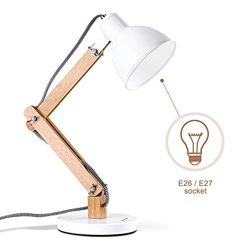 MUTUW Wooden Swing Arm Desk Lamp, e26/e27 LED Bulb Lamp, 40W, Metal & Wooden, Perfect for Reading Study Work Office - White by MUTUW (Image #2)