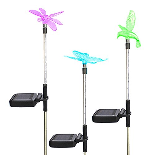 USA NEON KING Outdoor Solar Garden Lights,7 Color Changeable Landscape Lights for Wedding Christmas Decoration,3 Pack(Hummingbird, Butterflies, Dragonfly) by USA NEON KING