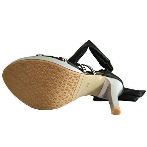 Taille Extrême Black De Mariage Stiletto Chaussures Femmes Dames Sandales Strappy Party Haut Toe Bow Open Talon H6xw51Zq